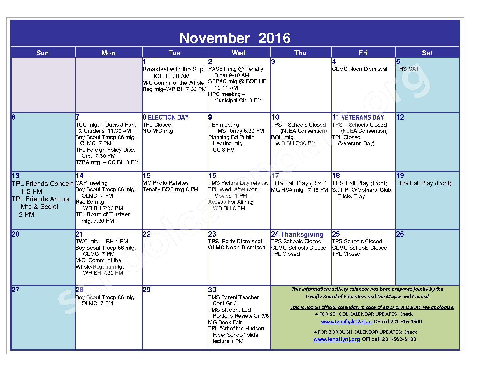 2016 - 2017 District Calendar – Tenafly Public Schools – page 7