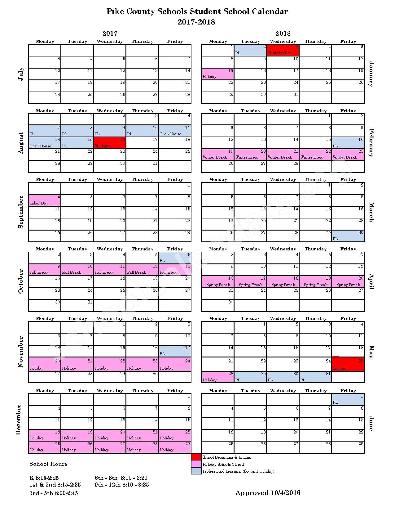 2017 - 2018 School Calendar – Pike County School District – page 1