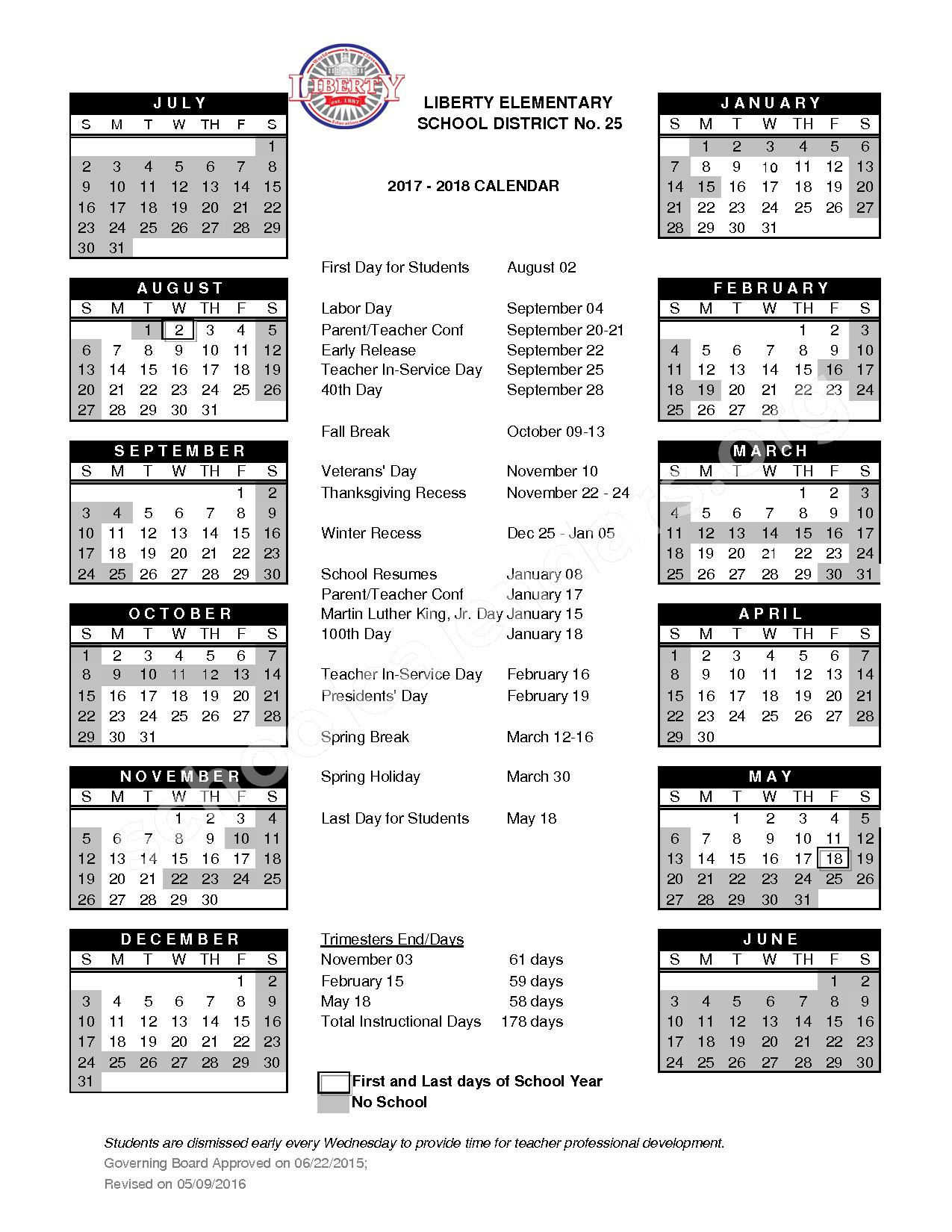 2017 - 2018 School Calendar – Liberty Elementary School District 25 – page 1