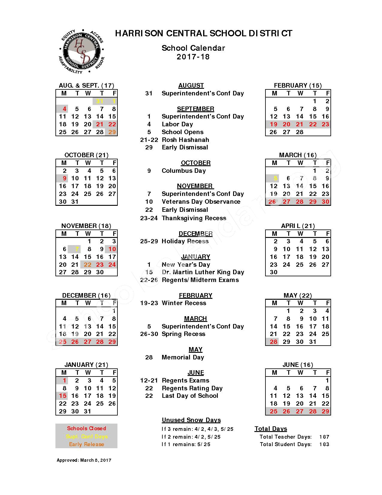 2017 - 2018 School Calendar – Harrison Central School District – page 1