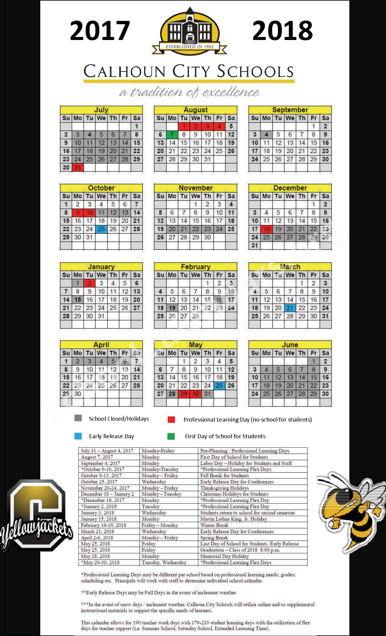 2017 - 2018 District Calendar – Calhoun City Schools – page 1