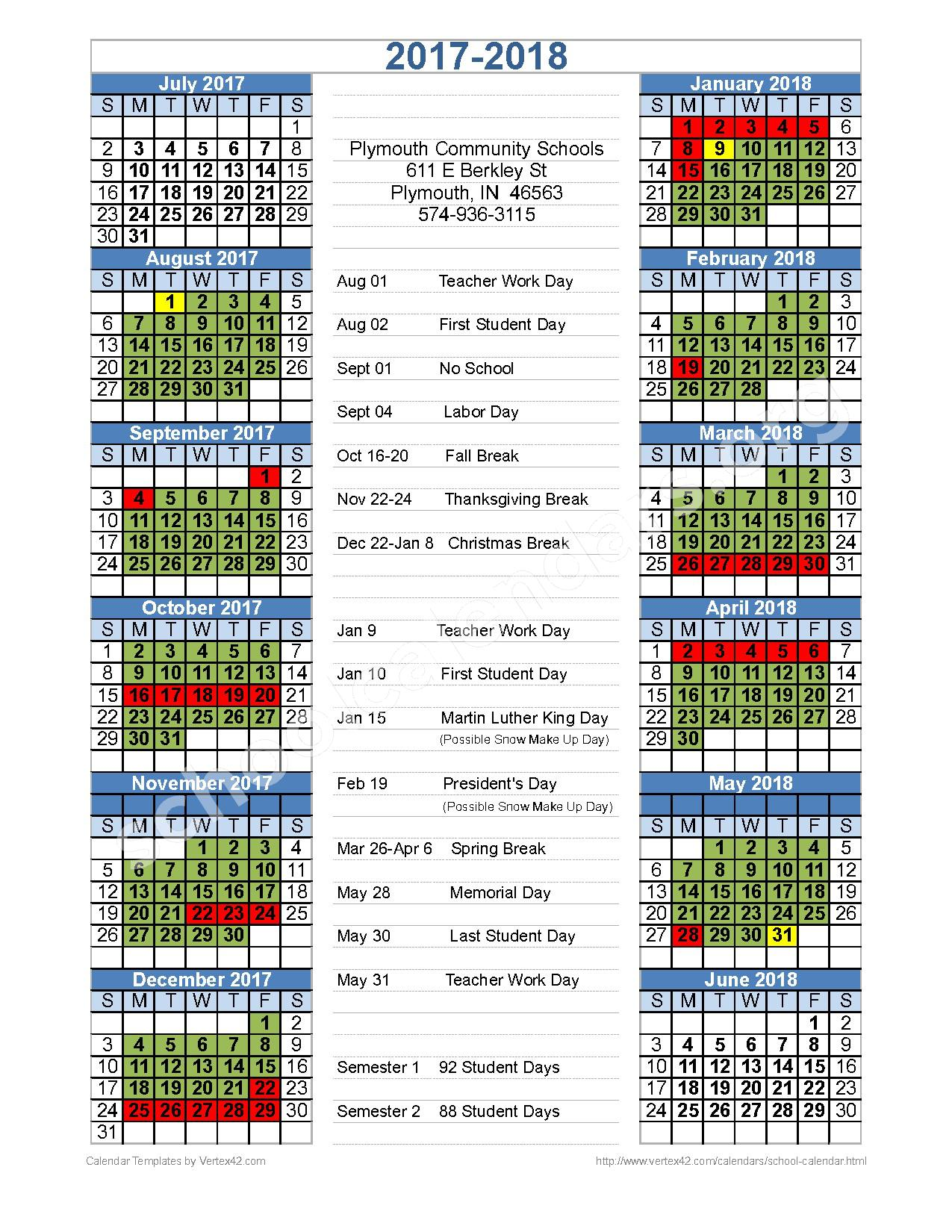 2017 - 2018 District Calendar – Plymouth Community School Corporation – page 1