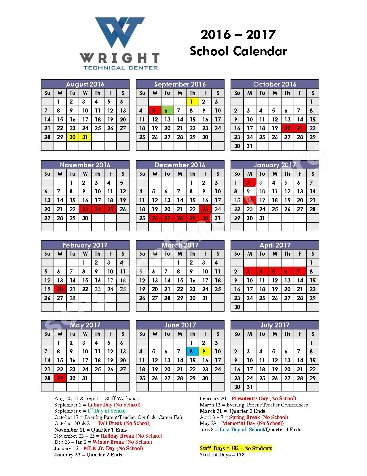 2016 - 2017 Calendar – Wright Technical Center – page 1