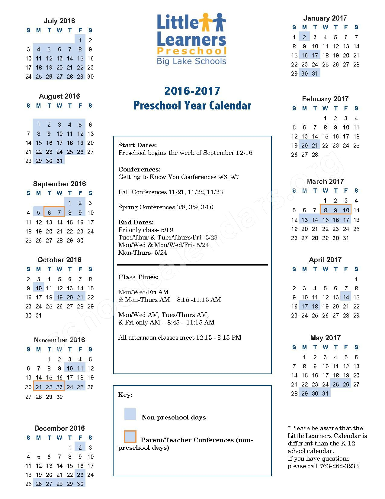 2016 - 2017 Little Learners Preschool Calendar – Big Lake Public School District – page 1