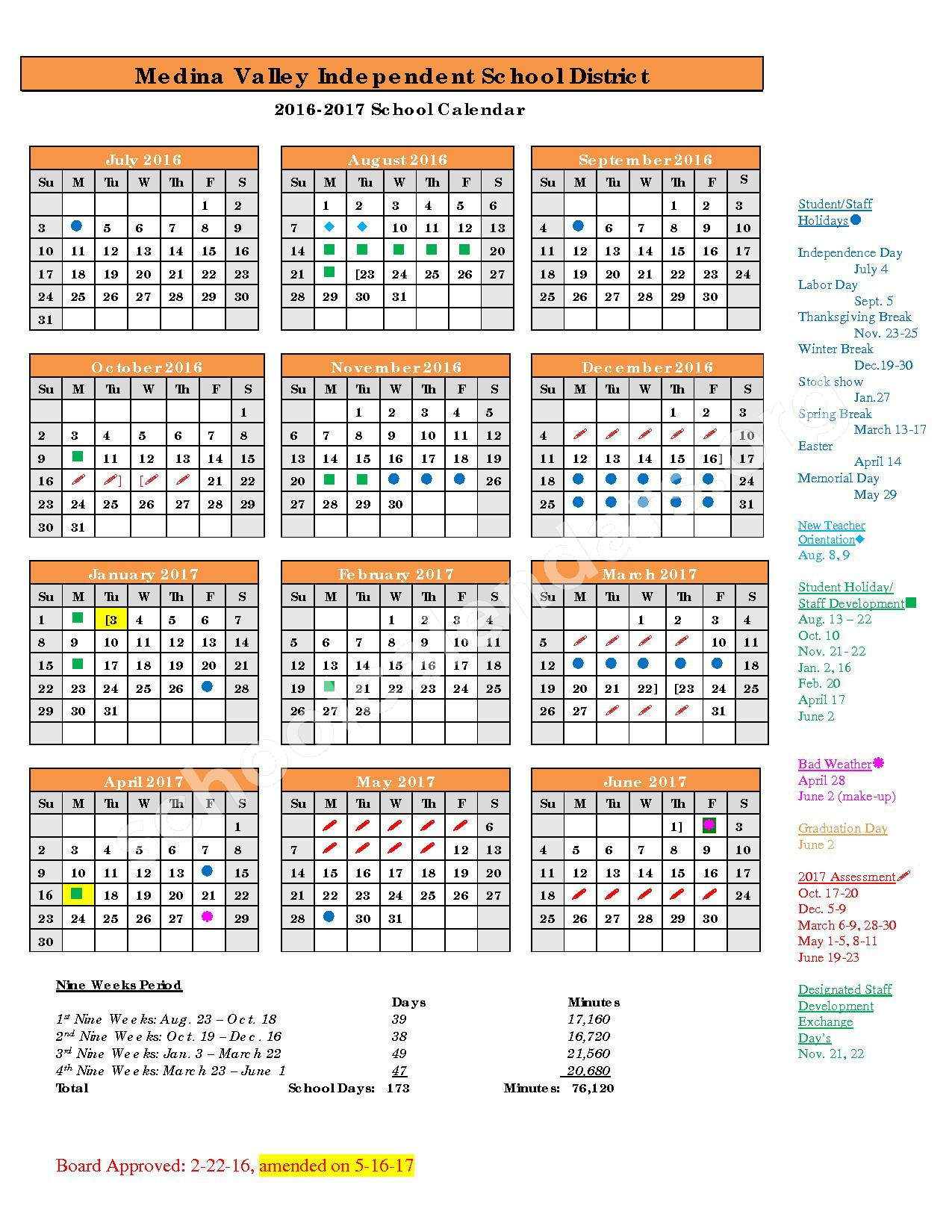 2016 - 2017 District Calendar – Medina Valley Independent School District – page 1