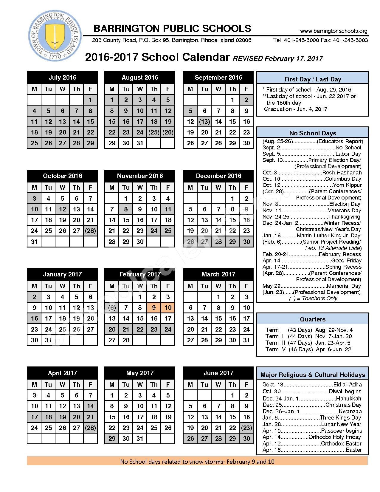 2017 - 2018 School Calendar – Barrington Public Schools – page 1