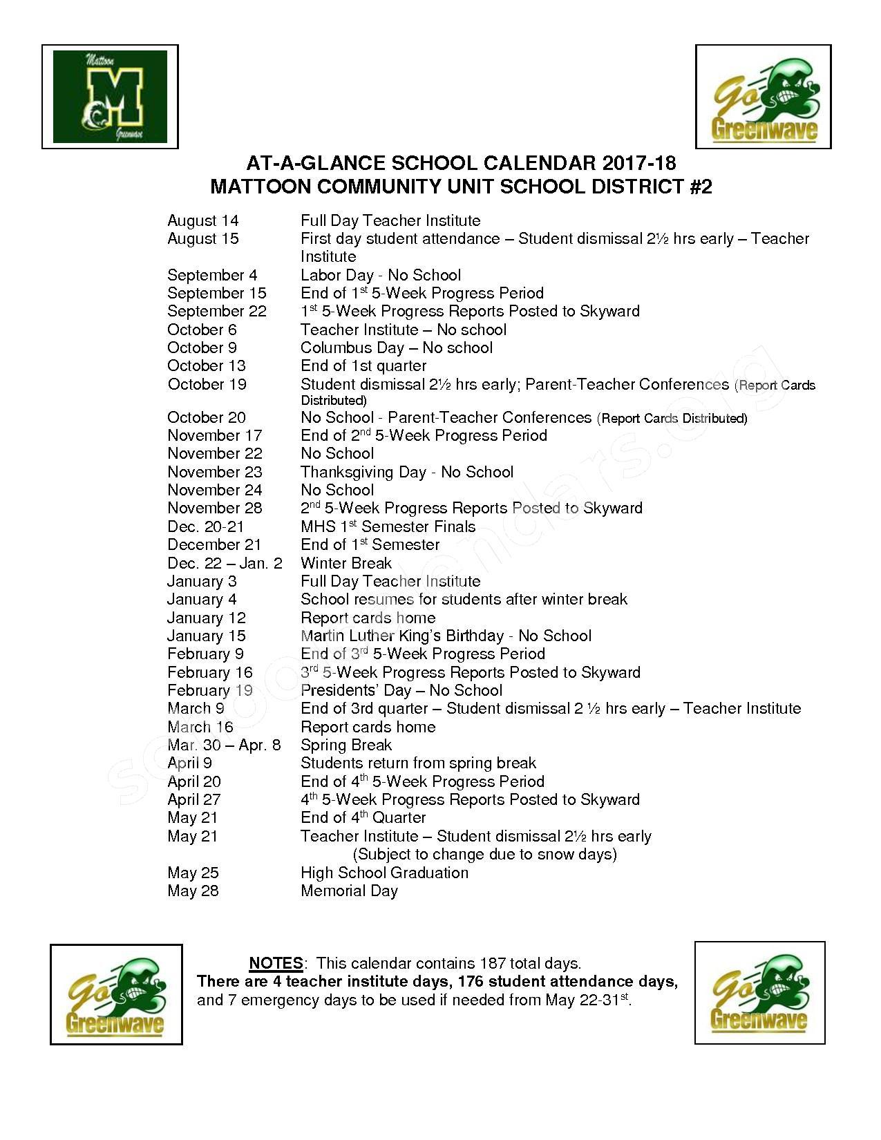 2017 - 2018 District Calendar – Mattoon Community Unit School District 2 – page 1