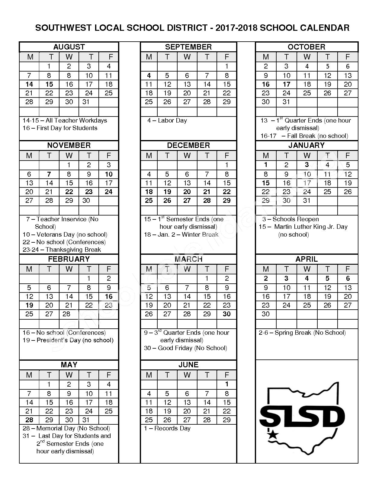 2017 - 2018 District Calendar – Southwest Local School District – page 1