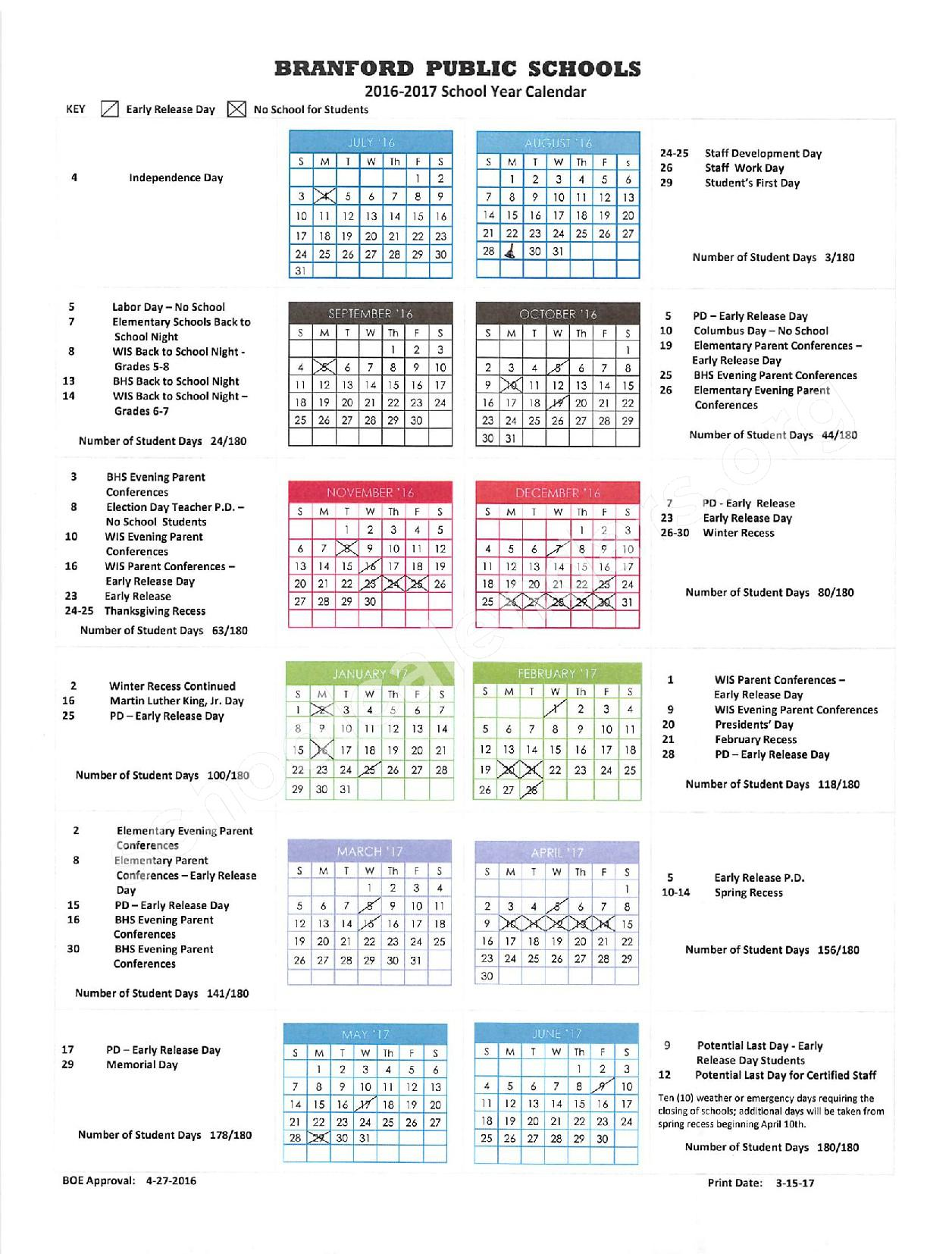 2016 - 2017 District Calendar – Francis Walsh Intermediate School – page 1