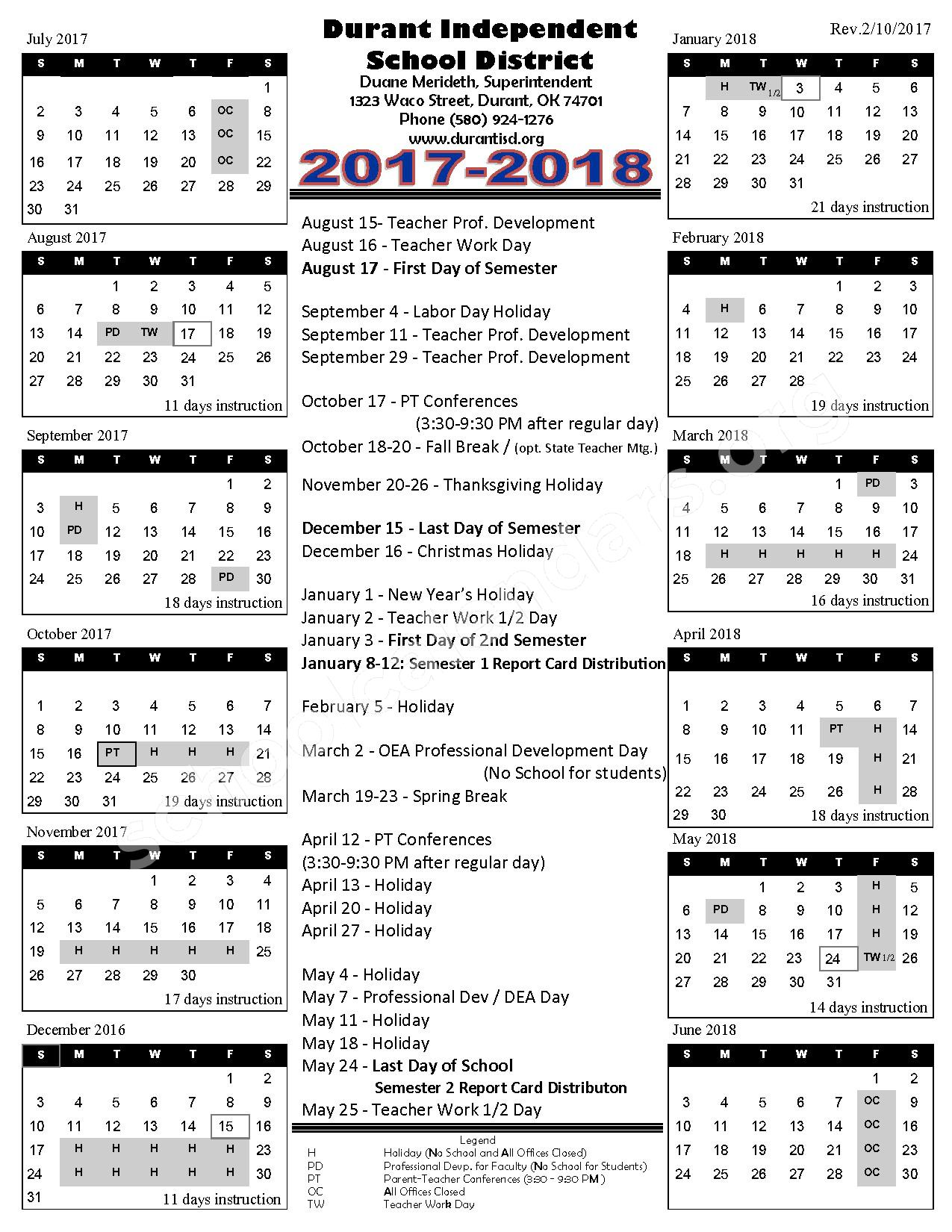 2017 - 2018 District Calendar – Durant Independent School District – page 1