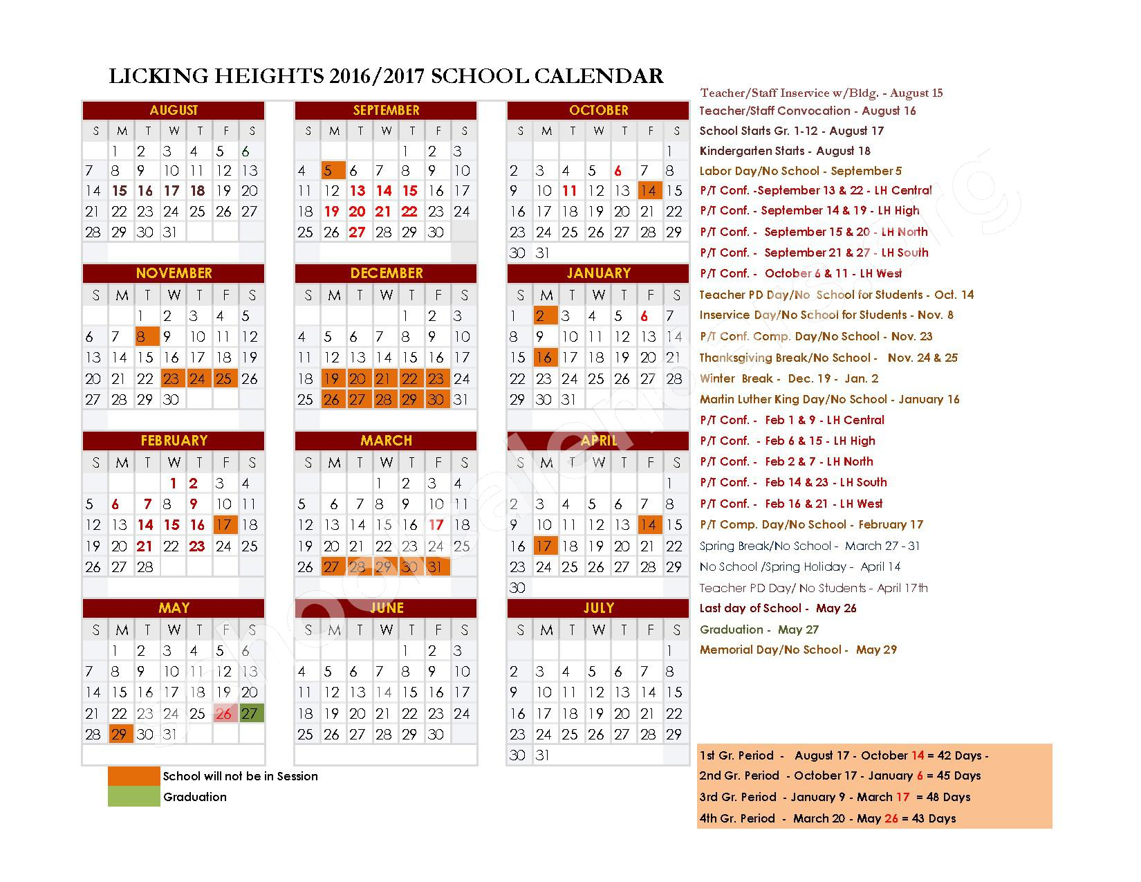 2016 - 2017 District Calendar – Licking Heights Local School District – page 1