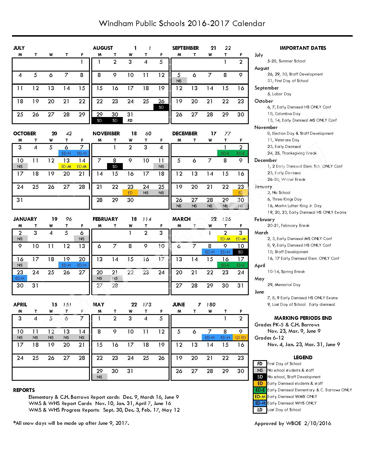 2016 - 2017 District Calendar – Windham Early Childhood Prospect Street – page 1
