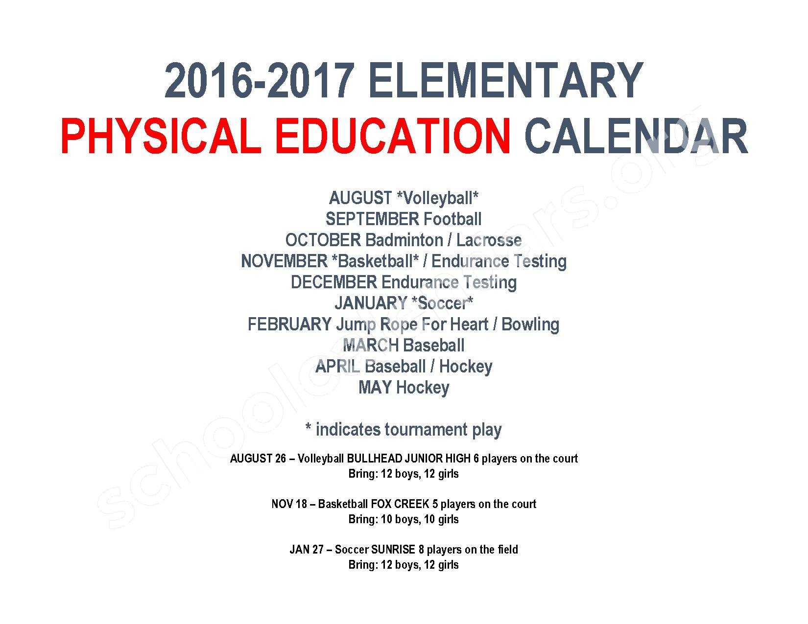 2016 - 2017 Elementary Physical Education Calendar – River Valley High School – page 1