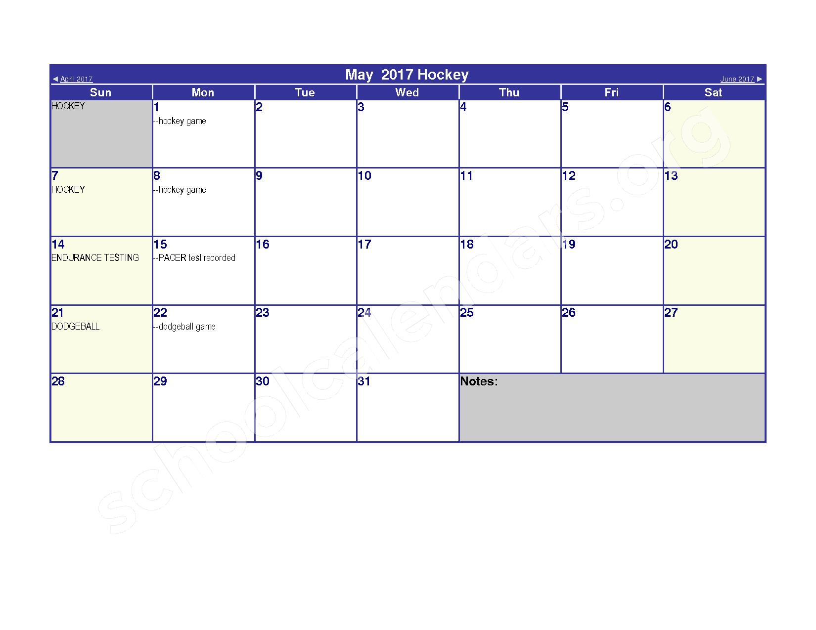 2016 - 2017 Elementary Physical Education Calendar – River Valley High School – page 11