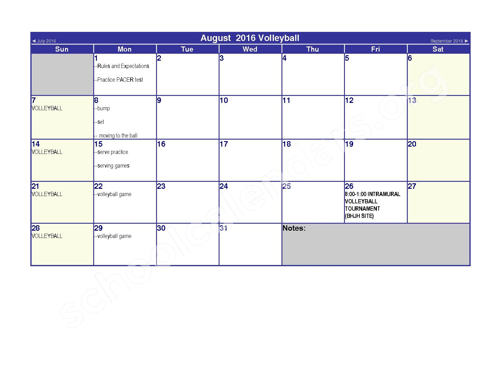 2016 - 2017 Elementary Physical Education Calendar – River Valley High School – page 2
