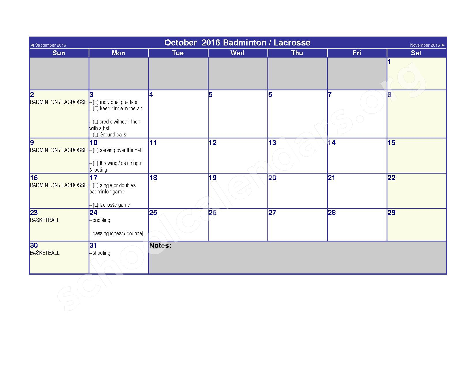 2016 - 2017 Elementary Physical Education Calendar – River Valley High School – page 4