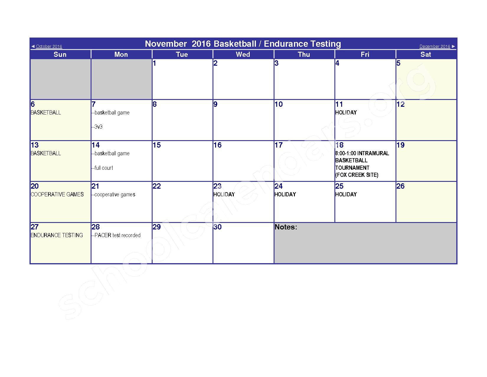 2016 - 2017 Elementary Physical Education Calendar – River Valley High School – page 5