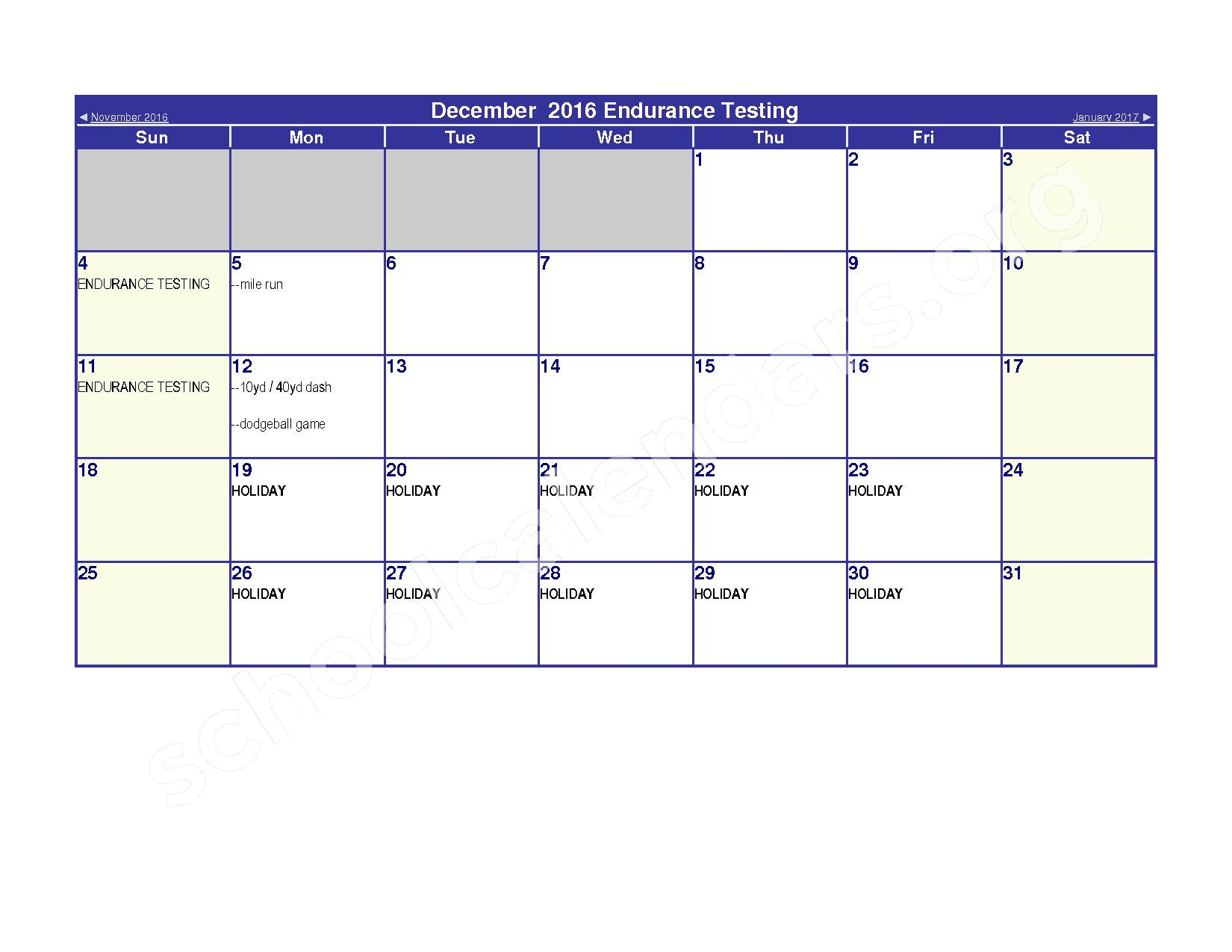 2016 - 2017 Elementary Physical Education Calendar – River Valley High School – page 6
