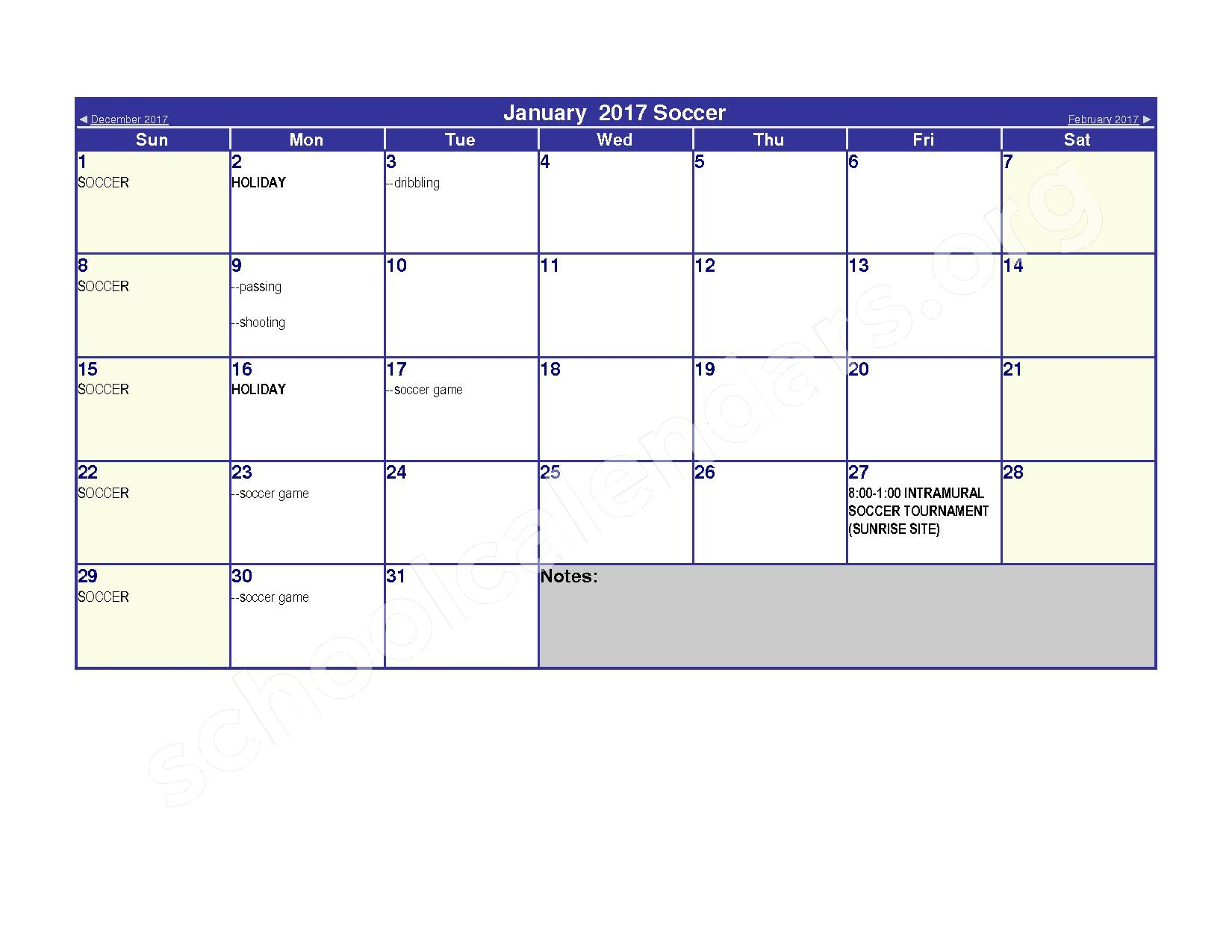 2016 - 2017 Elementary Physical Education Calendar – River Valley High School – page 7