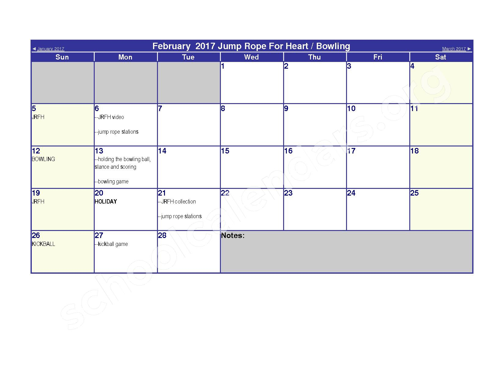 2016 - 2017 Elementary Physical Education Calendar – River Valley High School – page 8