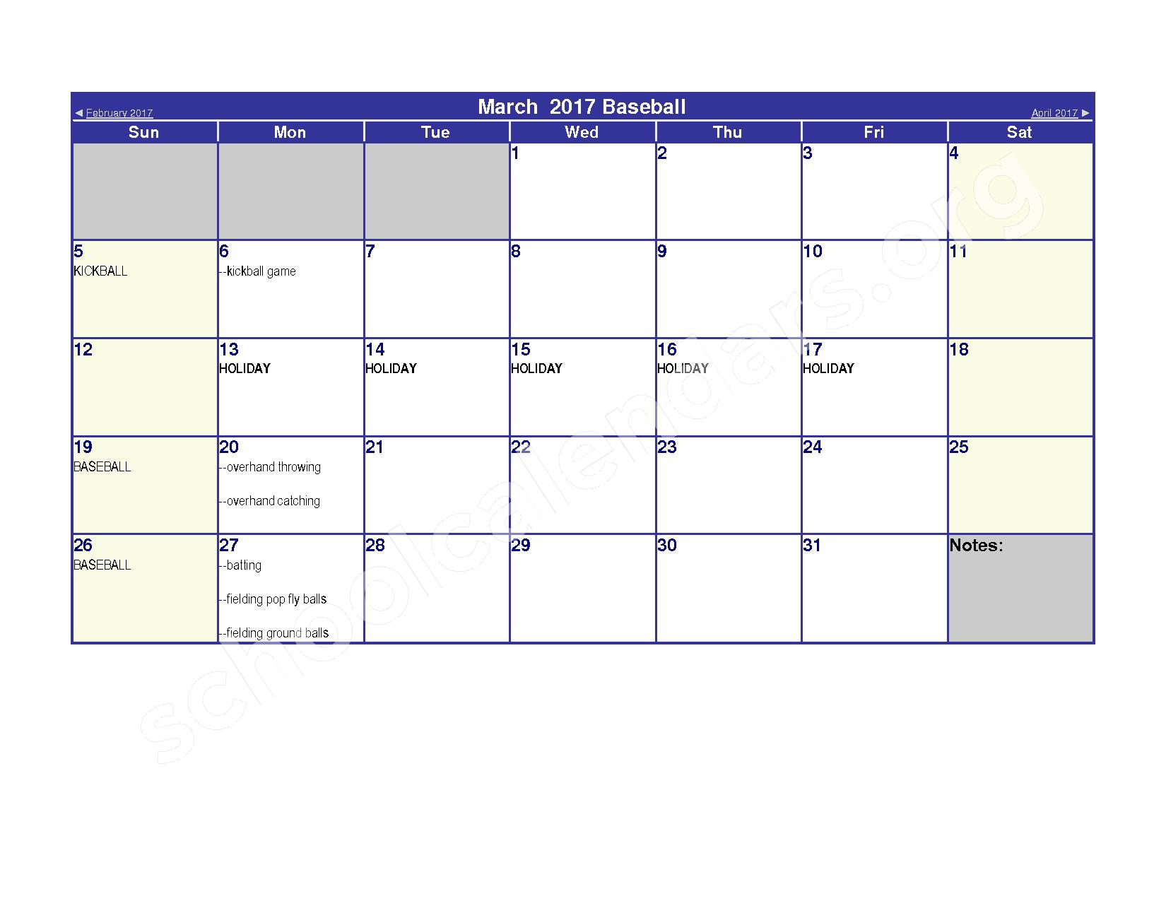 2016 - 2017 Elementary Physical Education Calendar – River Valley High School – page 9