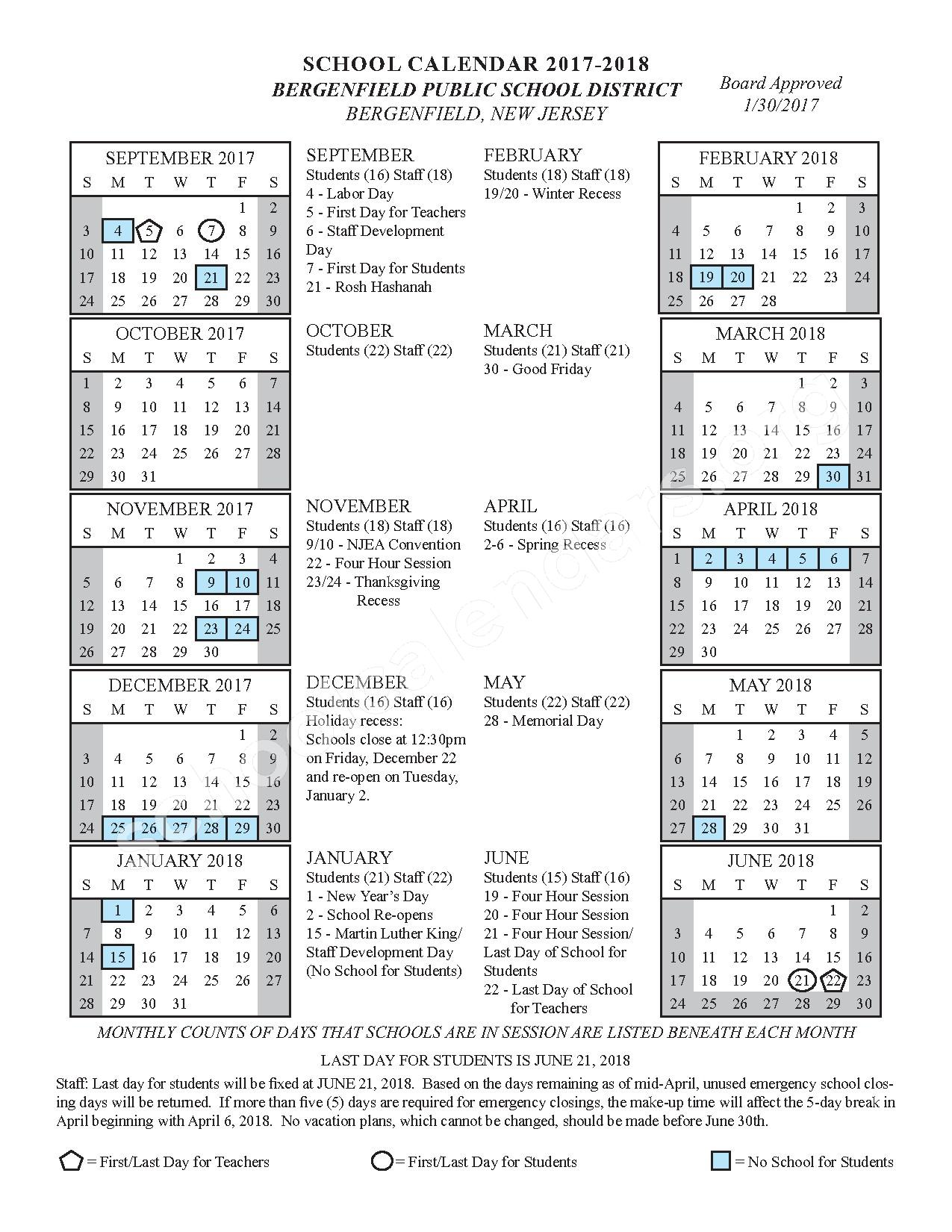2017 - 2018 District Calendar – Bergenfield Public Schools – page 1