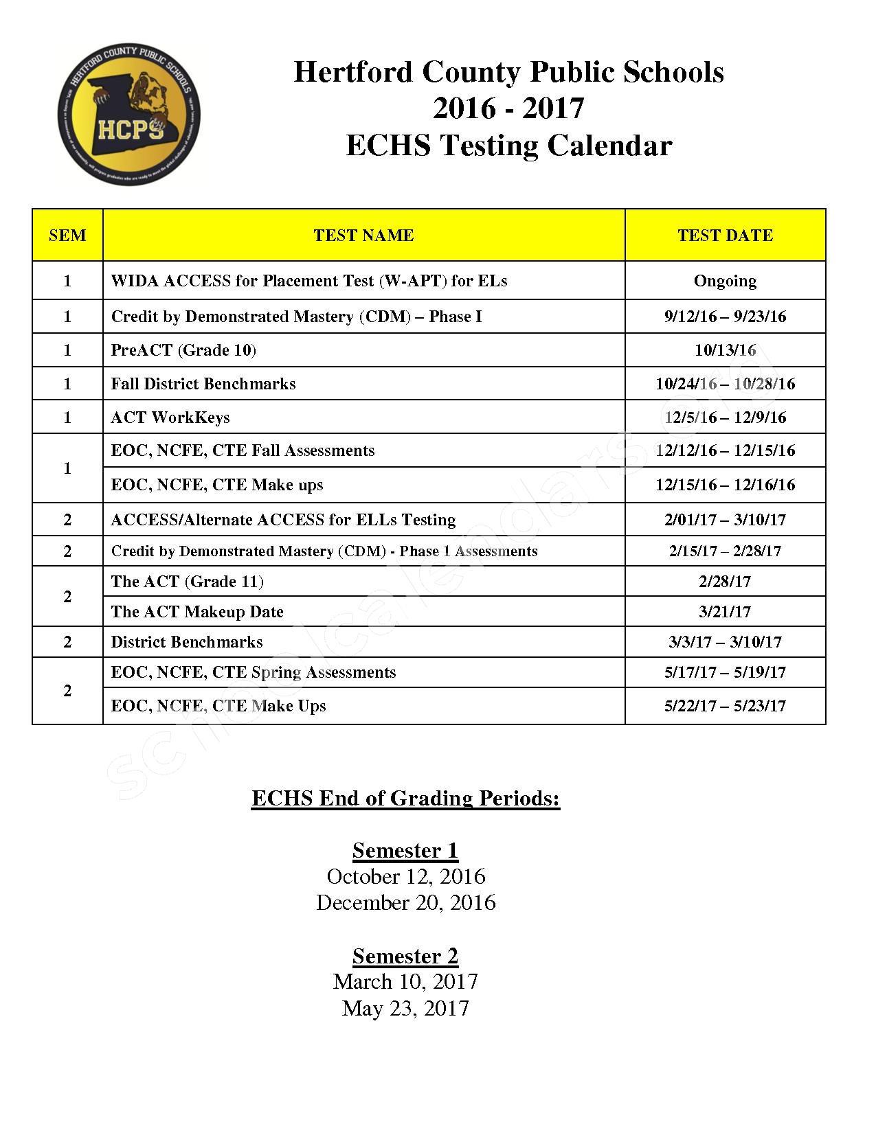 2016 - 2017 District Calendar – Hertford County Public Schools – page 1