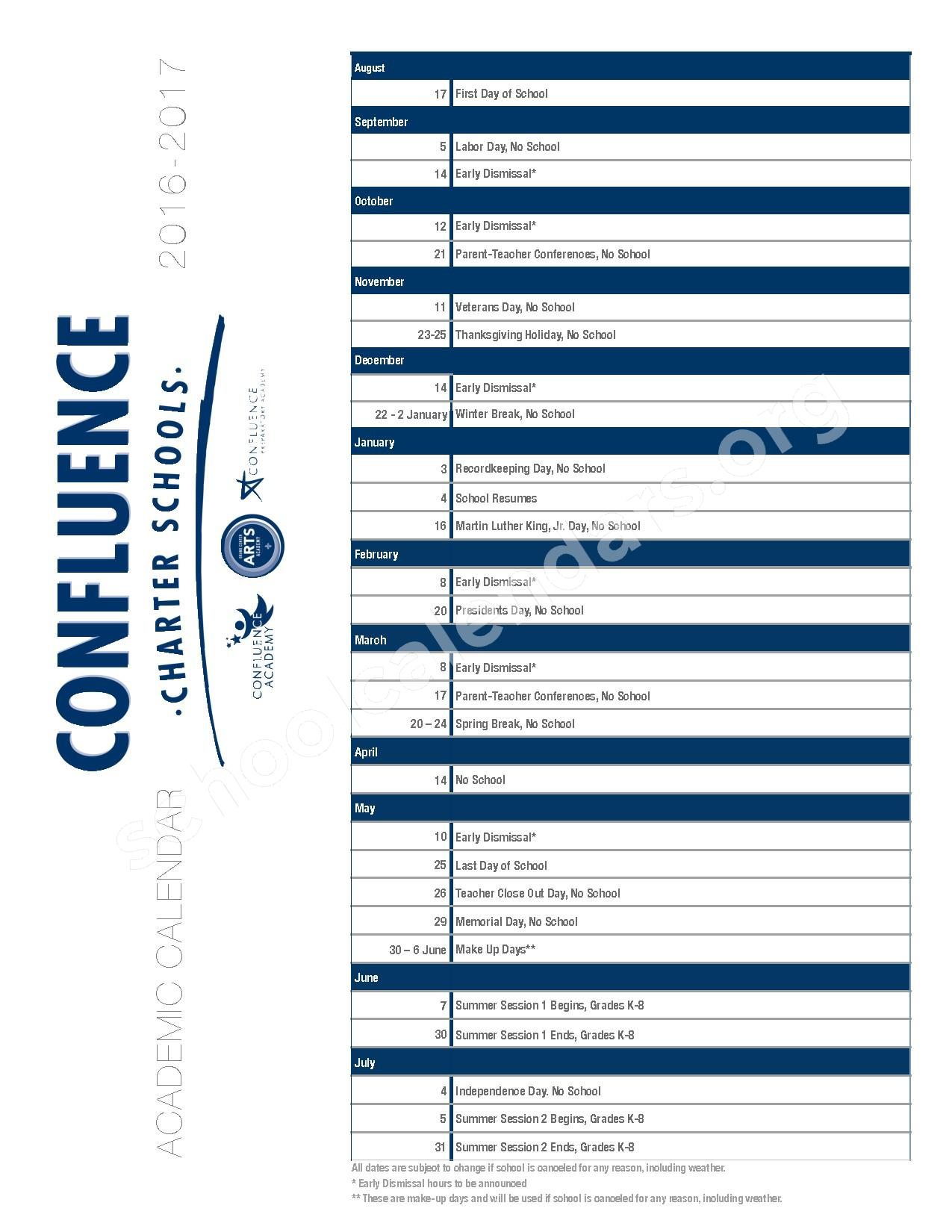2016 - 2017 District Calendar – Confluence Charter Schools – page 1