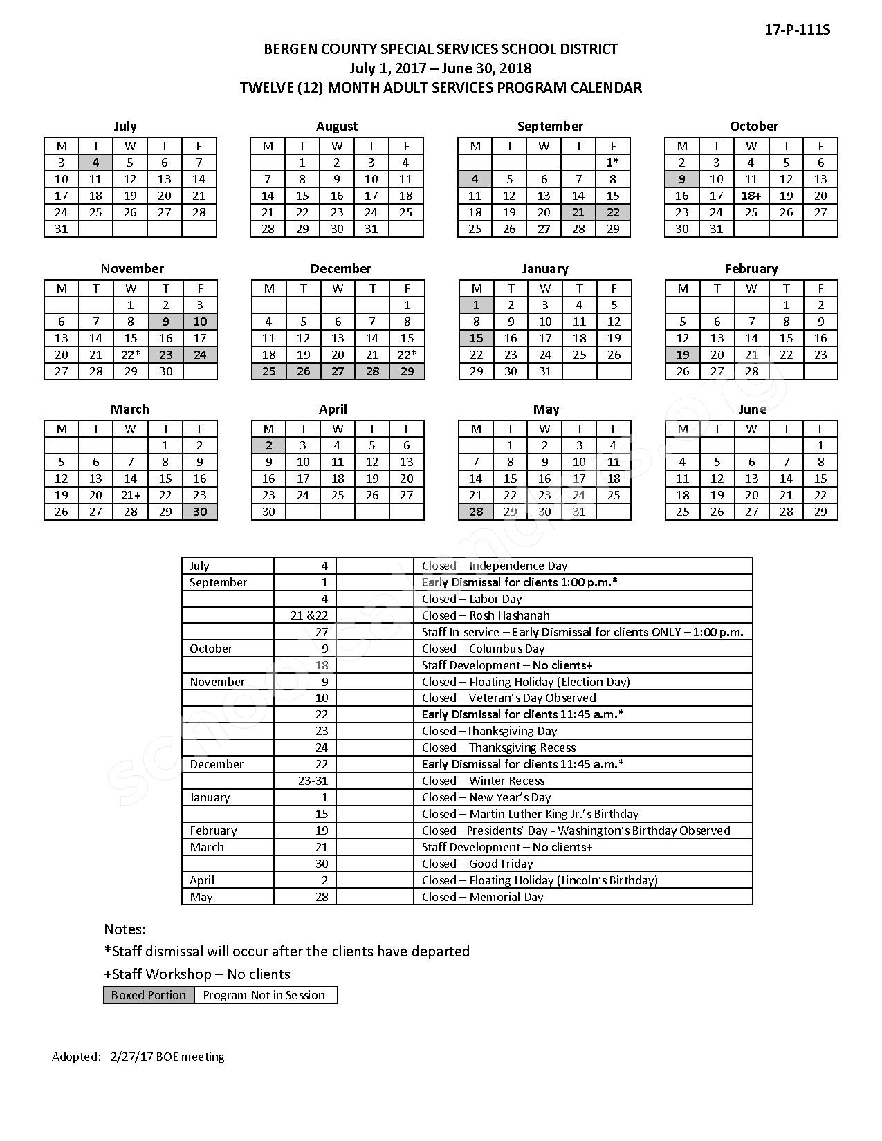 2017 - 2018 District Calendar – Lodi Public Schools – page 1