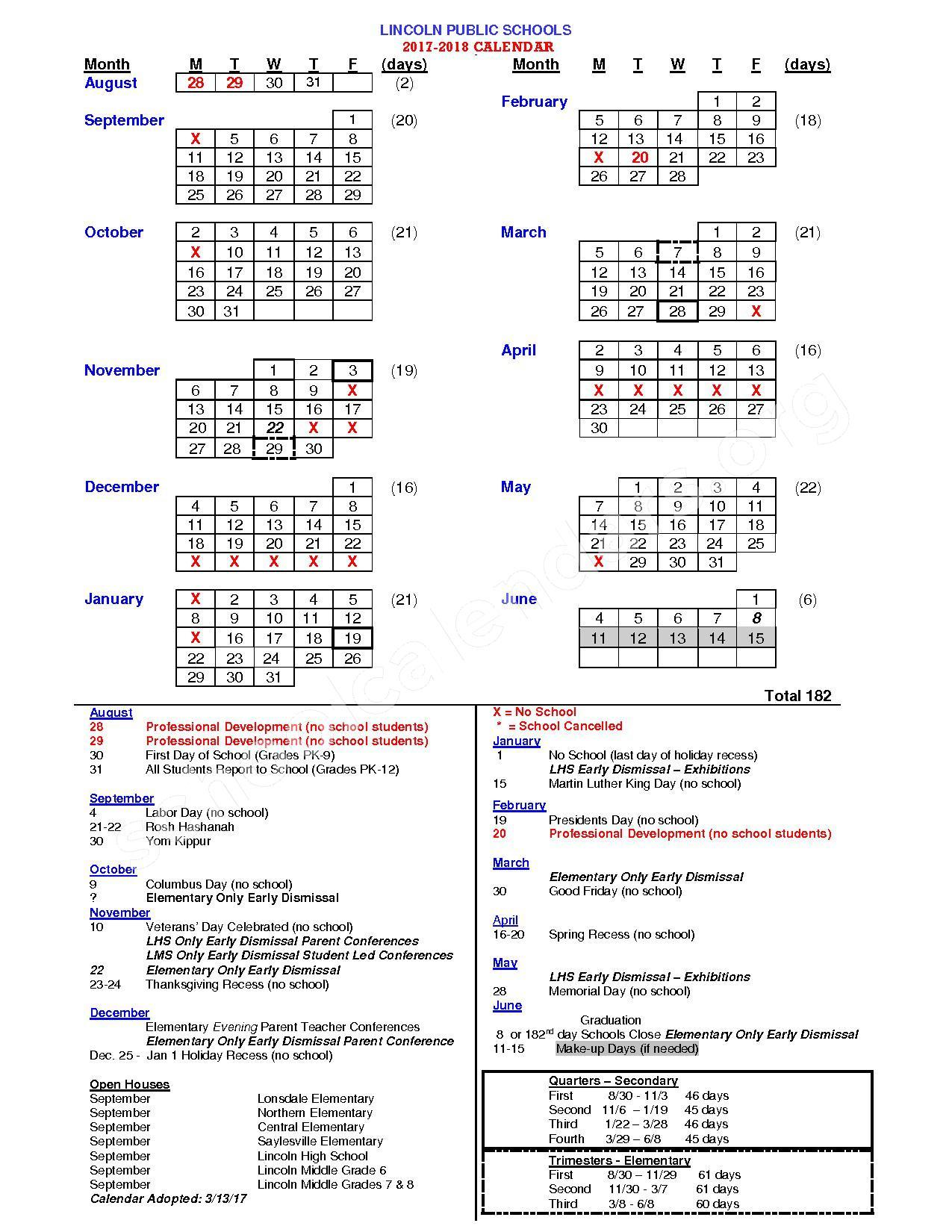 2017 - 2018 School Calendar – Lincoln Public Schools – page 1