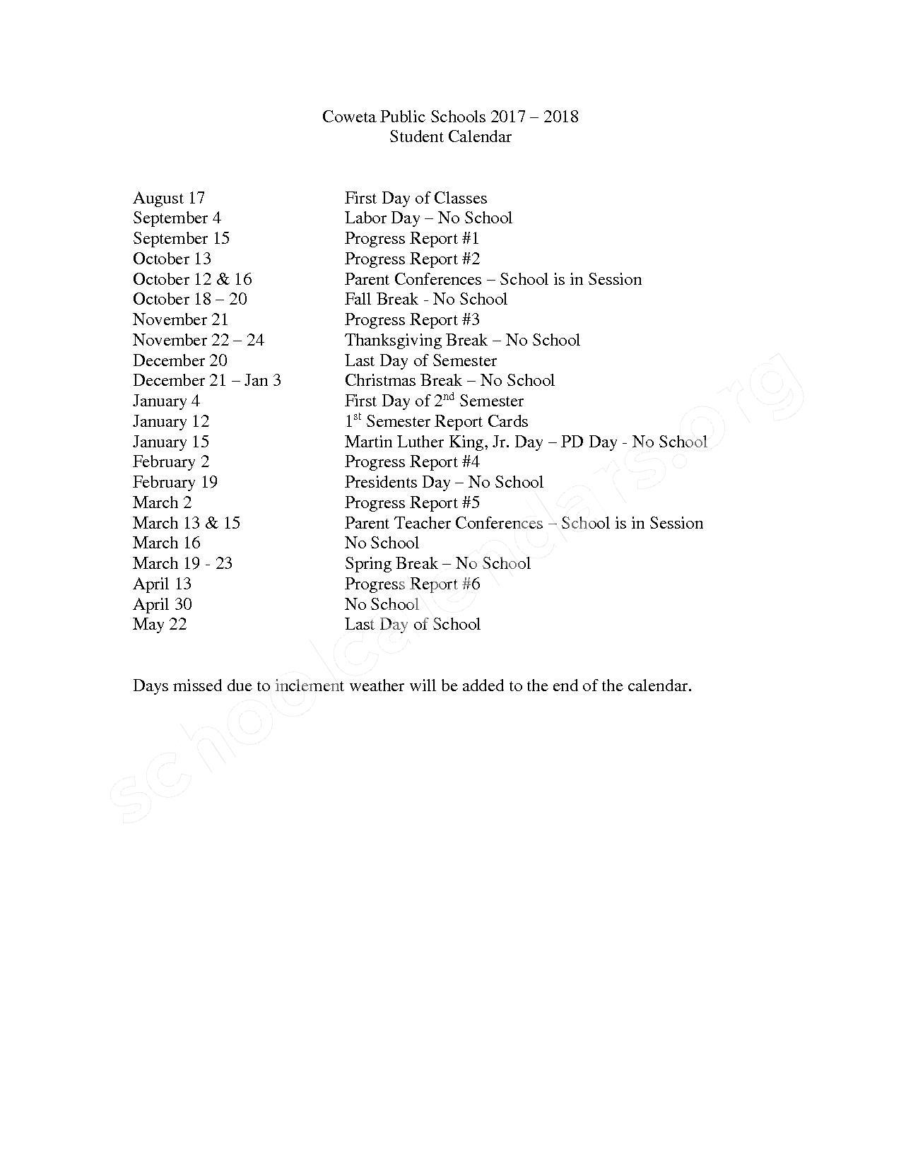 2017 - 2018 School Calendar – Coweta Public Schools – page 1