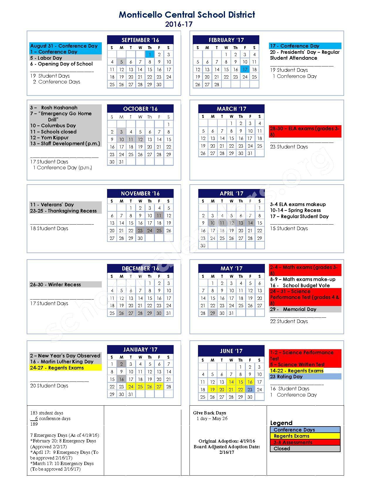 2017-2018 Monticello Central School Calendar – Monticello Central School District – page 1