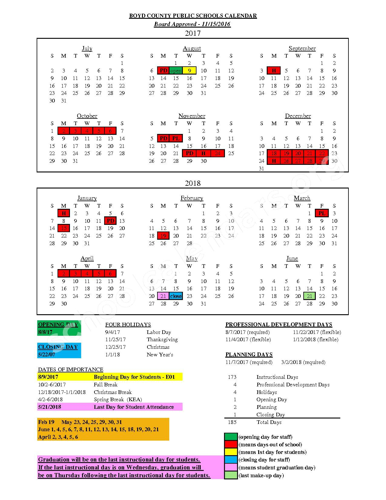 2017 - 2018 District Calendar – Boyd County School District – page 1