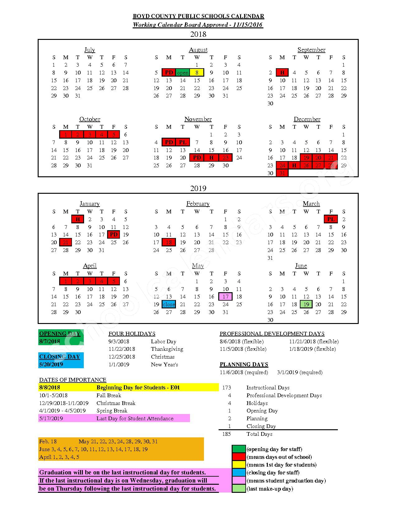 2018 - 2019 Employee Calendar – Boyd County School District – page 1