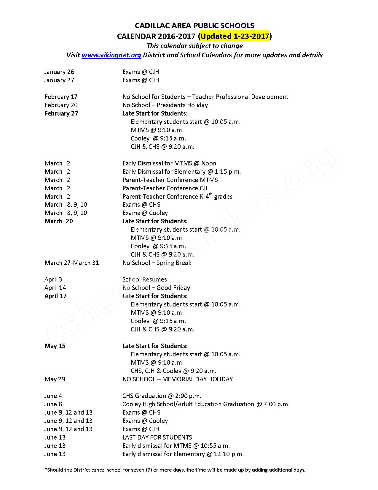 2016 - 2017 School Calendar – Cadillac Schools Adult Education – page 1