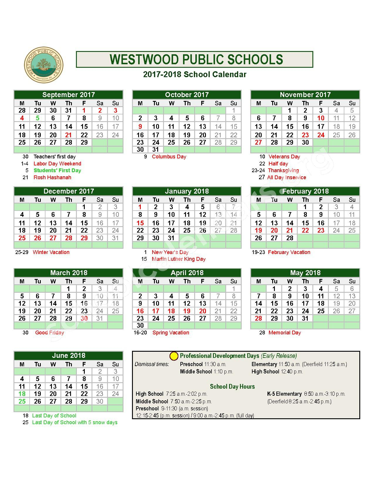 2017 - 2018  District Calendar – Westwood Integrated Preschool – page 1