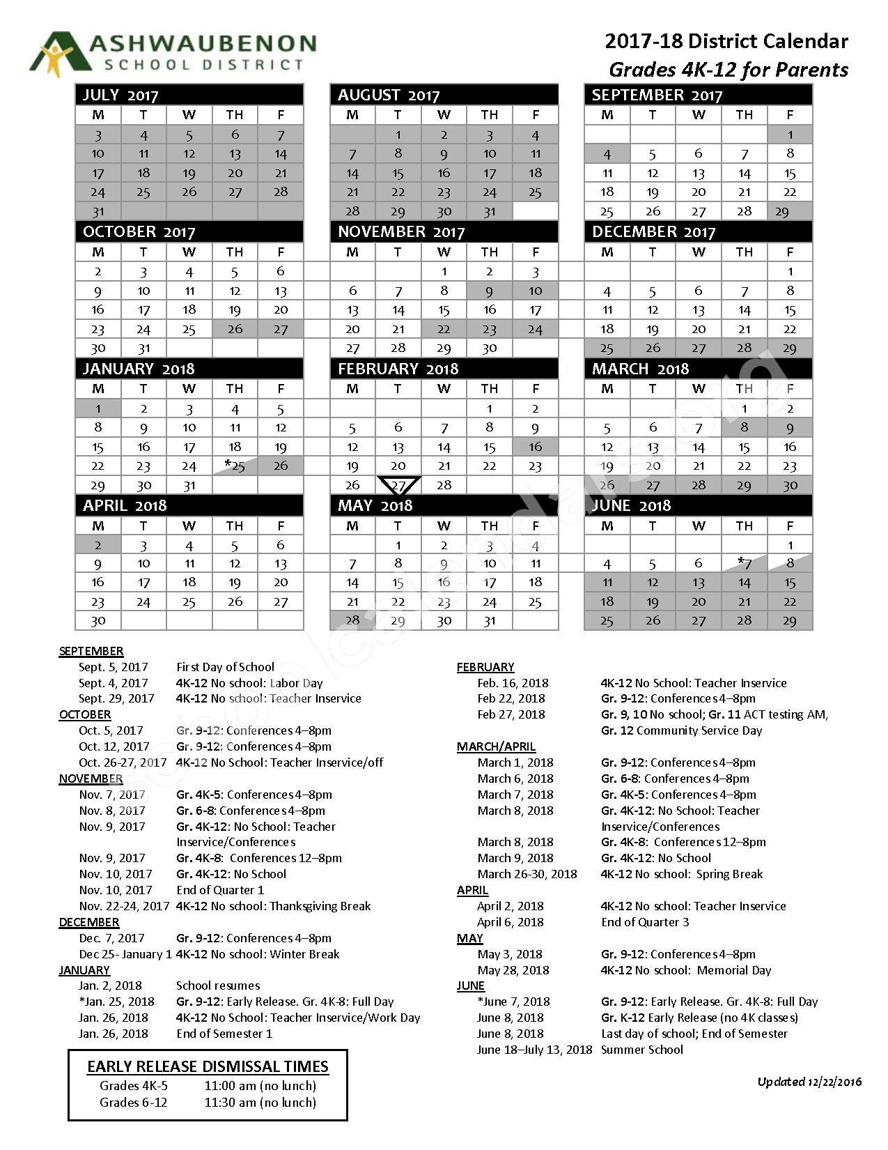 2017 - 2018 District Calendar – Ashwaubenon School District – page 1