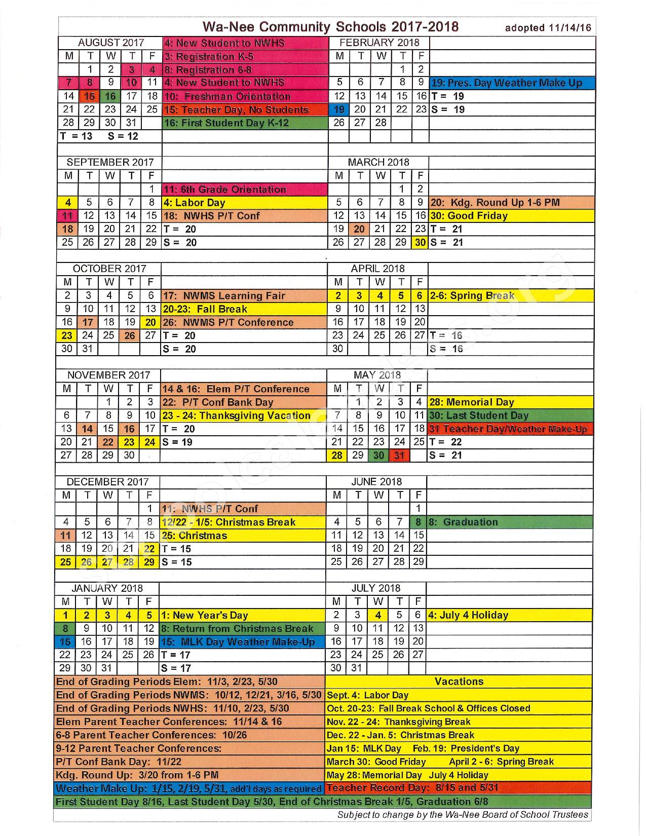 2017 - 2018 District Calendar – North Wood Middle School – page 1