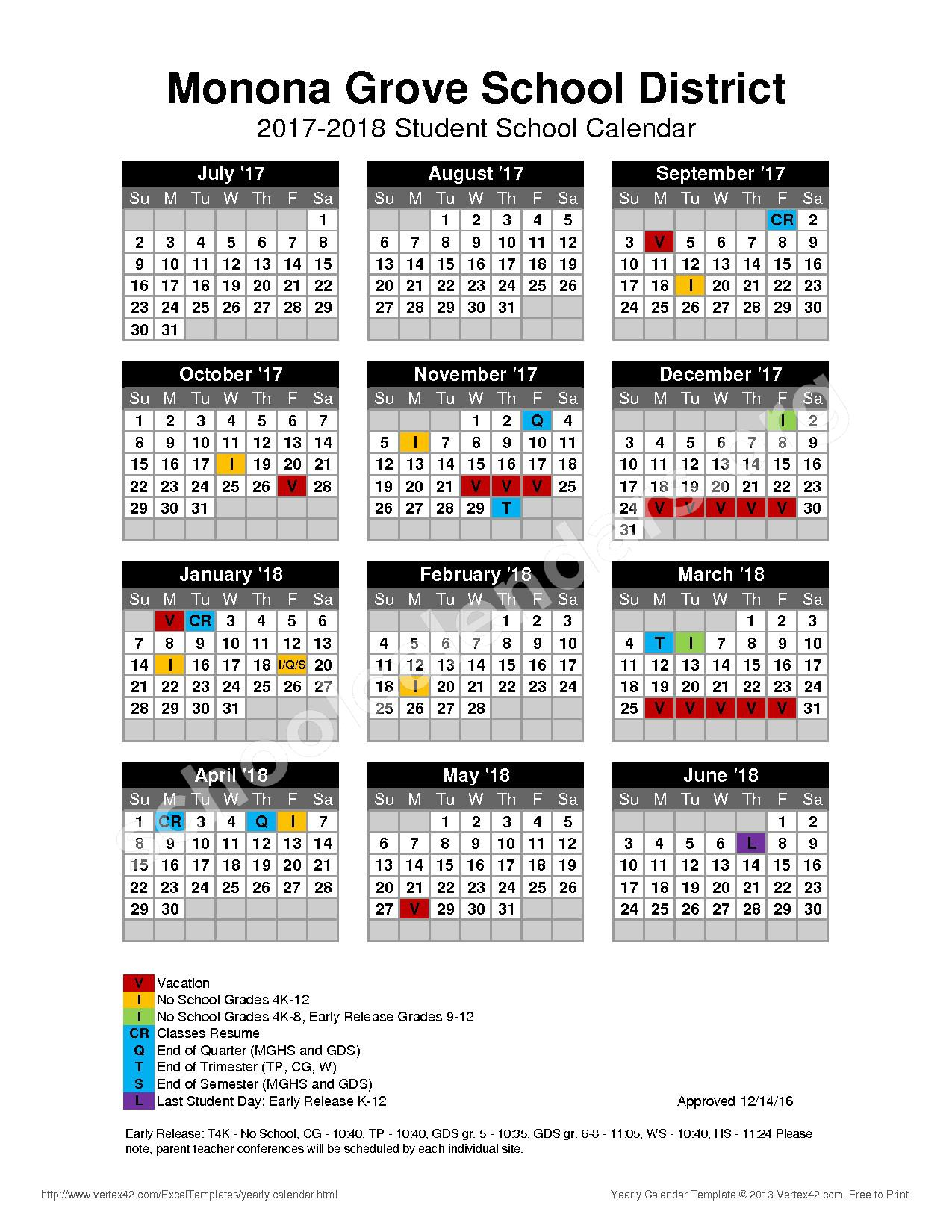 2017 - 2018 District Calendar – Monona Grove School District – page 1