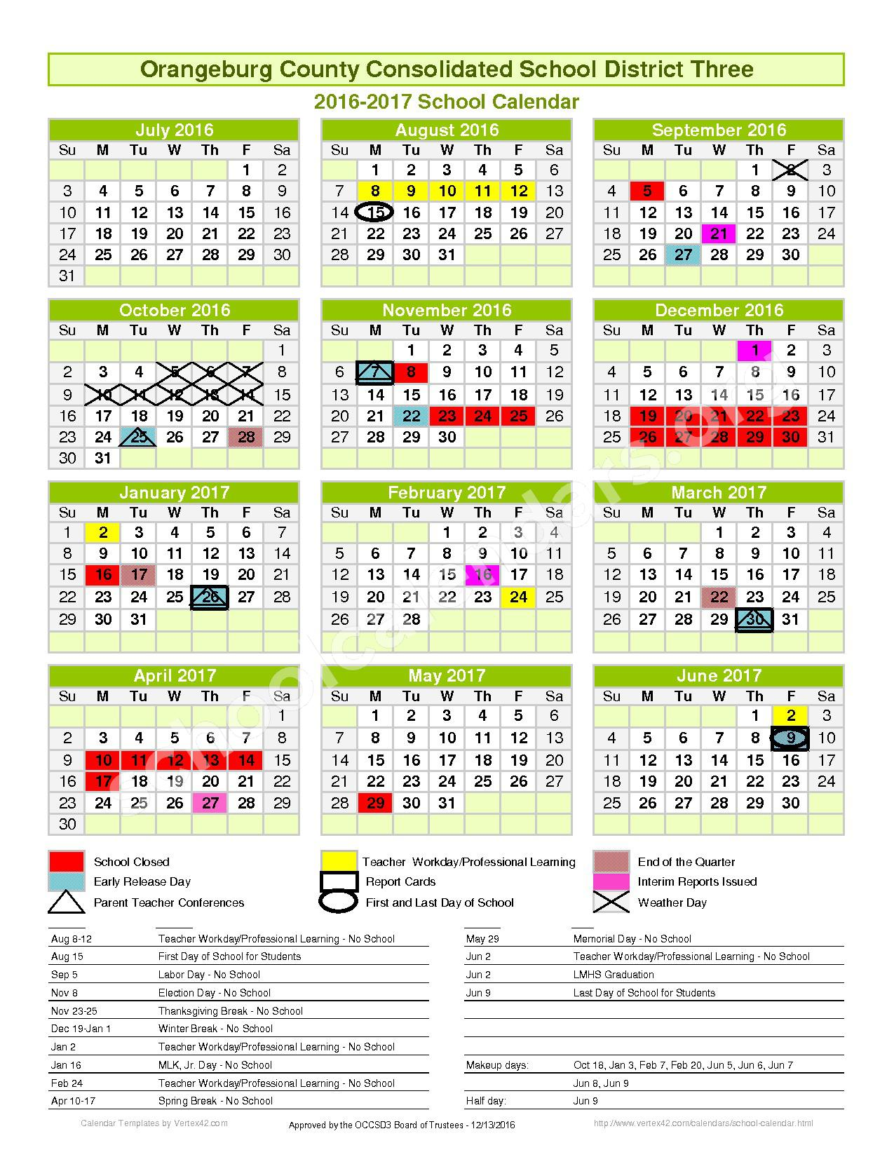 2016 - 2017 District Calendar – Orangeburg School District 3 – page 1