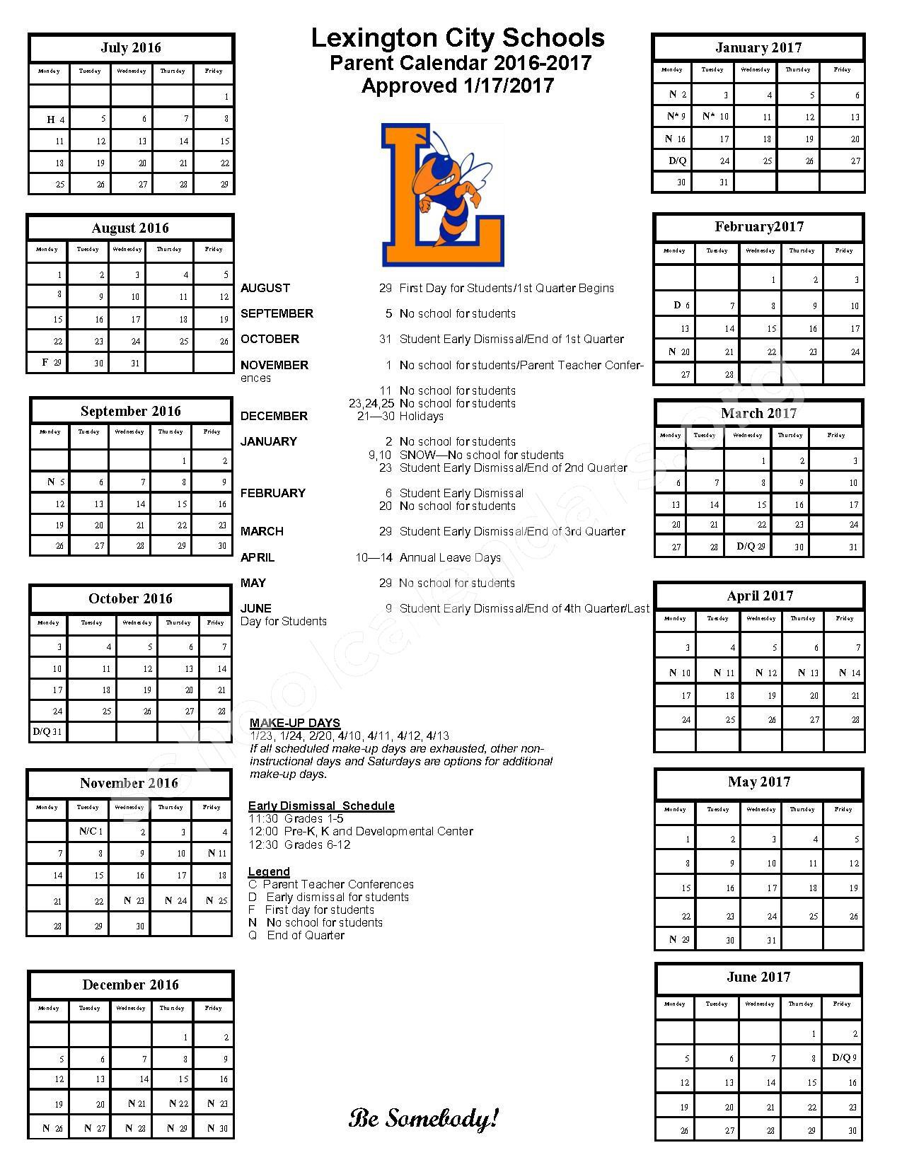 2016 - 201  District Calendar – Lexington City Schools – page 1