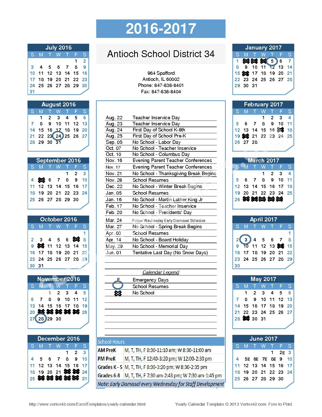 2016 - 2017 School Calendar – Antioch School District 34 – page 1