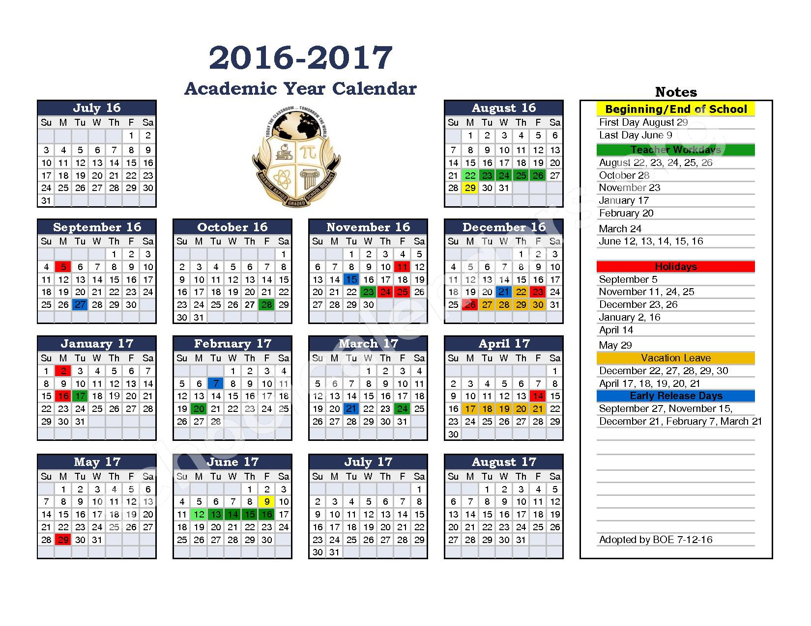 2016 - 2017 District Calendar – Chaloner Middle School – page 1