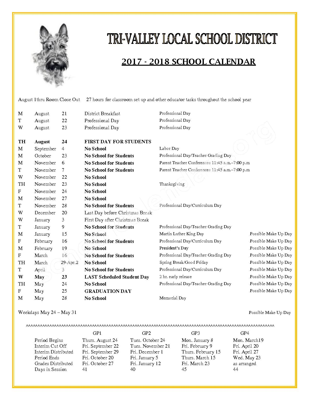 2017 - 2018 District Calendar – Tri-Valley High School – page 1