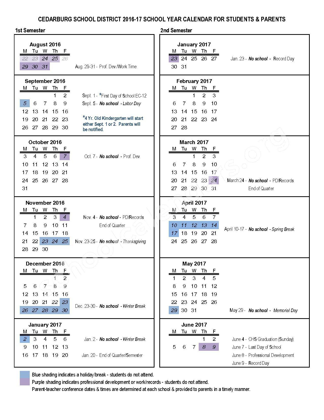 2016 - 2017 District Calendar – Cedarburg School District – page 1