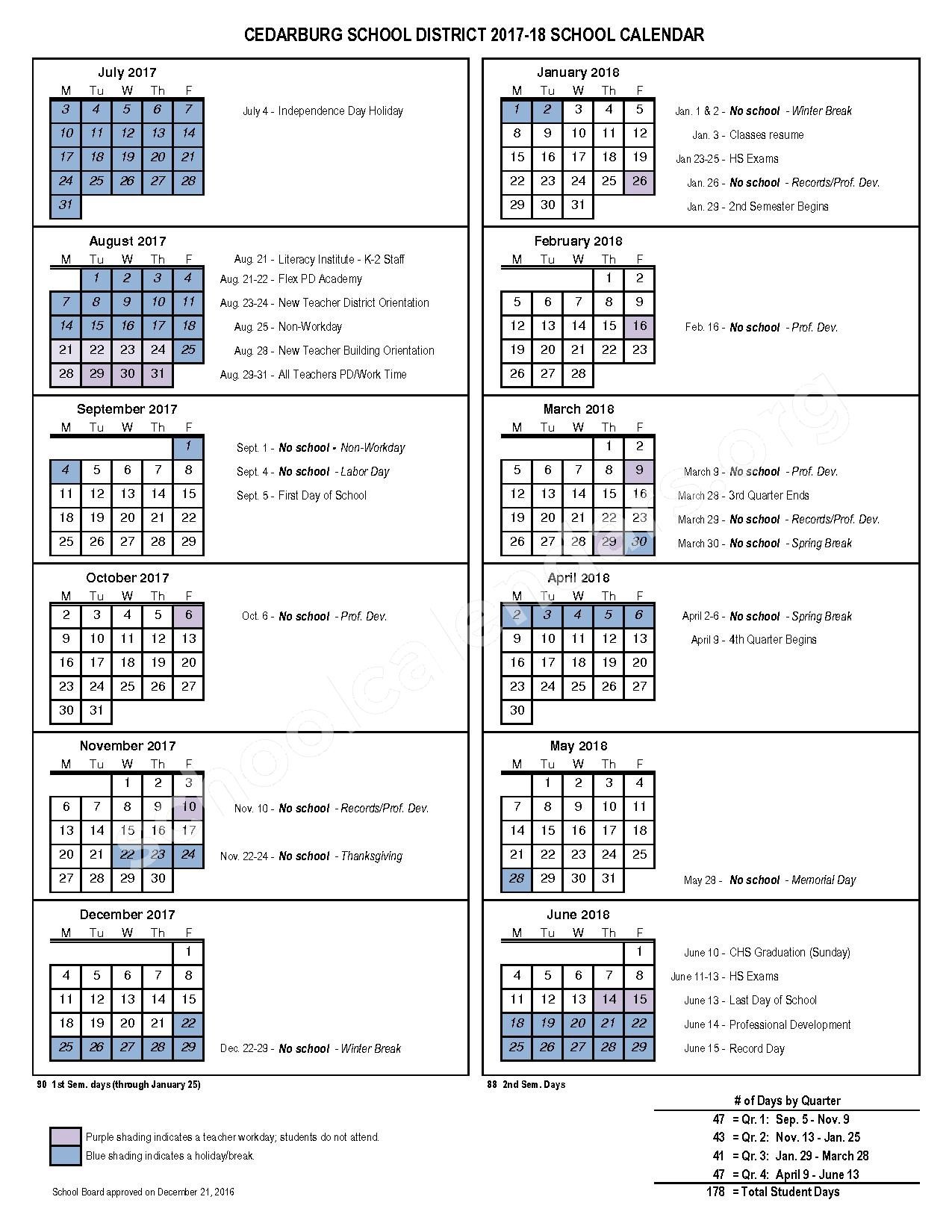 2017 - 2018 District Calendar – Cedarburg School District – page 1