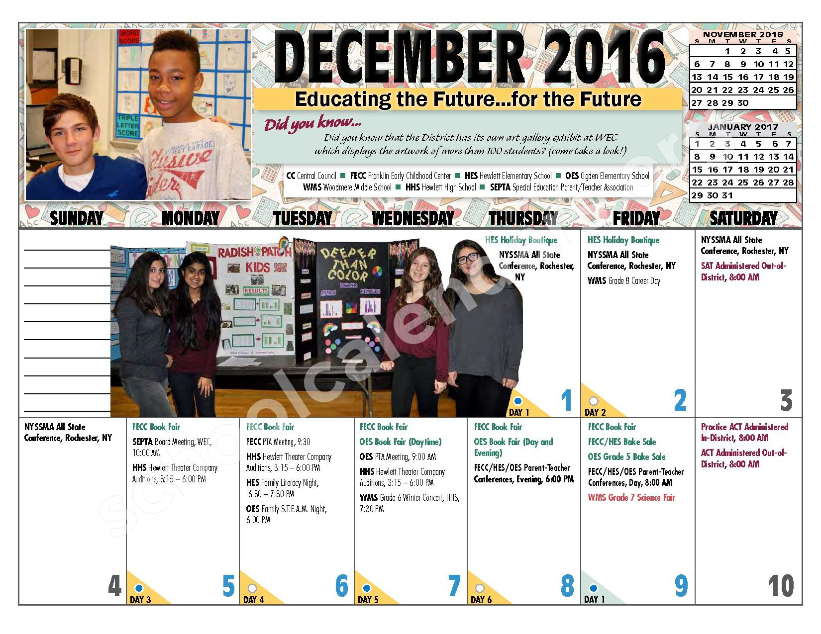 2016 - 2017 District Calendar – Hewlett-Woodmere Union Free School District – page 10