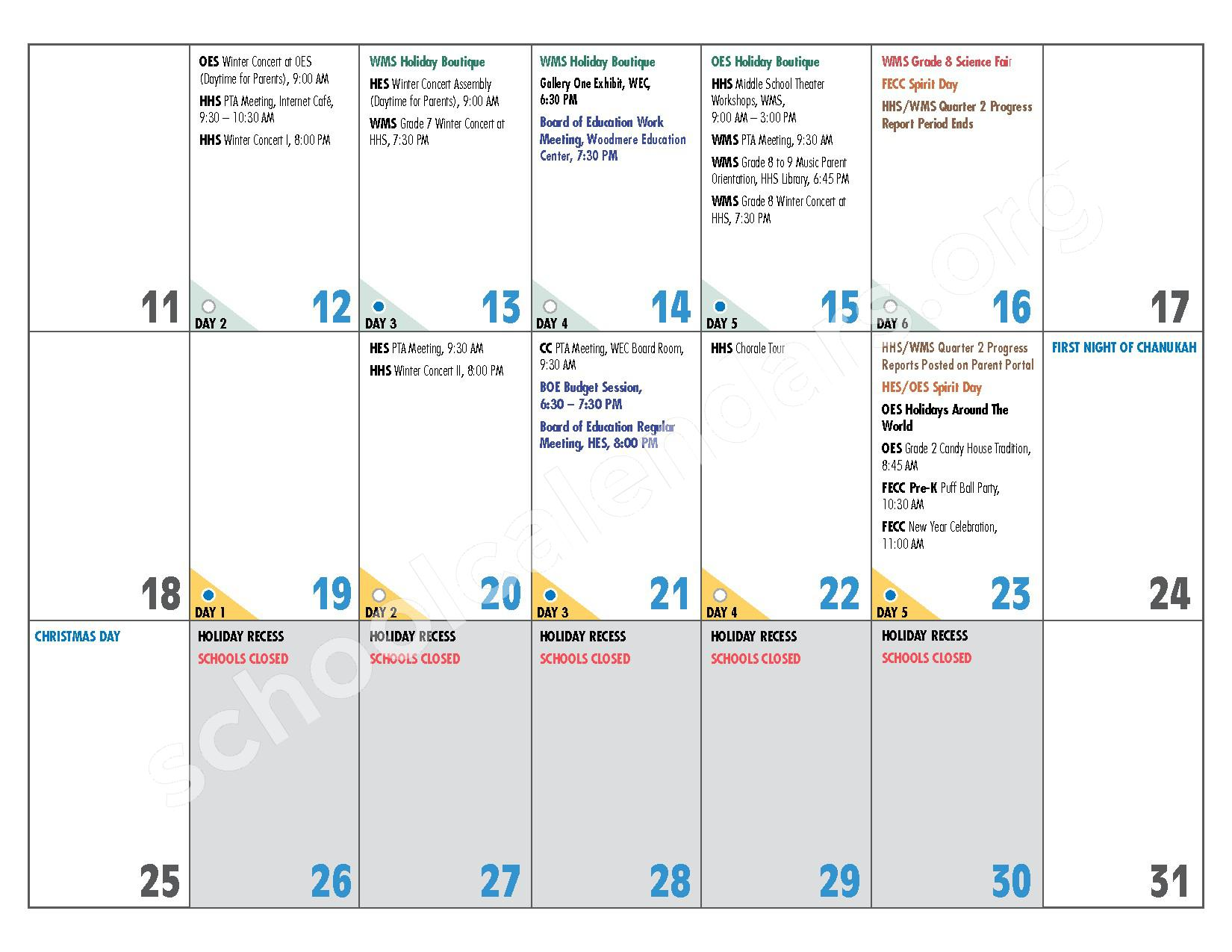2016 - 2017 District Calendar – Hewlett-Woodmere Union Free School District – page 11