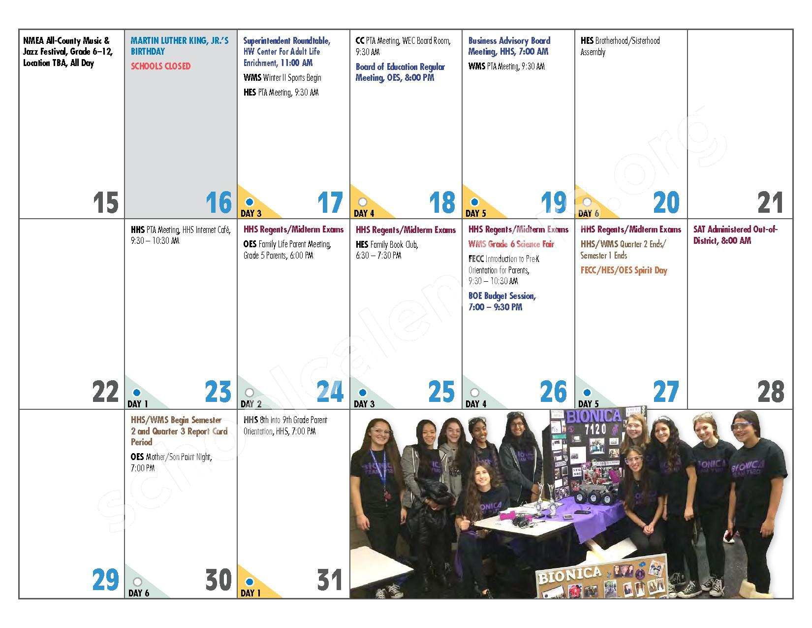 2016 - 2017 District Calendar – Hewlett-Woodmere Union Free School District – page 13