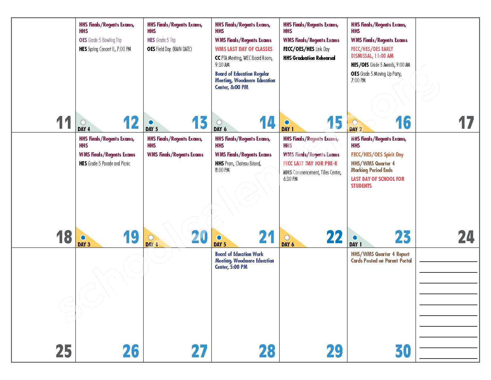 2016 - 2017 District Calendar – Hewlett-Woodmere Union Free School District – page 23